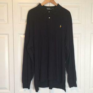 Polo long sleeved navy shirt XXL